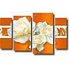 Модульная картина из 4 частей БЕЛЫЕ РОЗЫ на оранжевом фоне