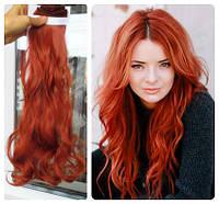 Волосы трессы на заколках ТЕРМО 8 прядей длина  47см огненный рыжий
