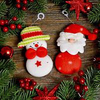 Новогоднее украшение Дед Мороз и снеговик с узором 0109