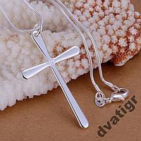 Цепь с крестом из стерлингового серебра