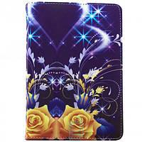 Чехол-книжка 10 дюймов с разворотом, уголки-резинка фиолетовые цветы