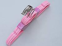 Плечики детские флокированные (бархатные) розовые, 32,5 см, 5 штук в упаковке
