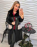 Женское модное пальто из эко-кожи с меховыми карманами