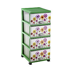 Пластиковый комод Герберы Elif Plastik на 4 выдвижных ящика