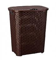 Корзина для белья пластиковая плетеная Senyayla 4629-1 коричневый прямоугольная