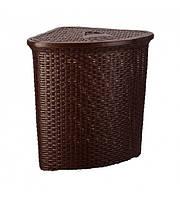 Корзина для белья угловая пластиковая плетеная Senyayla 4627 коричневый