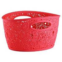 Овальная корзинка для белья пластиковая Ажур Elif 321