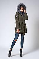 Женская молодежная зимняя парка с мехом чернобурки. Код модели К-106-59-18. Цвет хаки.