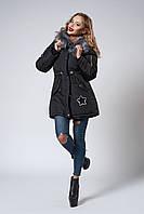 Женская молодежная зимняя парка с мехом чернобурки. Код модели К-106-59-18. Цвет черный.