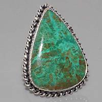 Малахитовая хризоколла крупное кольцо с камнем хризоколла в серебре. Кольцо с хризоколлой. Размер 18,5. Индия