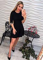 Женское стильное платье с юбкой-трапецией и жемчугом на рукавах (3 цвета)
