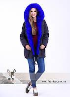 Женская куртка парка с ярким цветом электрик