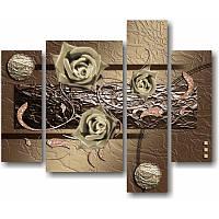 Модульная картина из 4 частей РОЗЫ И ЗАВИТКИ