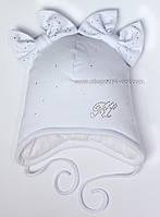 Трикотажная утепленная шапка Сьюзи белая