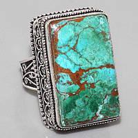Малахитовая хризоколла красочное кольцо с камнем малахит-хризоколла в серебре. Кольцо с хризоколлой.