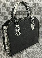 Модная сумка Stella McCartney Стелла МкКартни черная с рептилией
