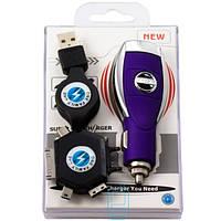 АЗУ USB 5V 1000mA Nissan + шнур для 6101-К750-D880-4S-mini и micro USB