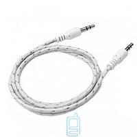 AUX кабель 3.5 M/M тканевый 1 метр белый