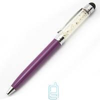 Стилус емкостный с брилиантами с авторучкой фиолетовый
