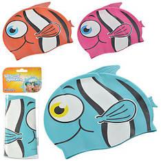 BW Шапочка 26025 для плавания в форме рыбки, 21-17,5см, 3+, 3 цвета, в кульке, 11-26см