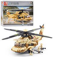Конструктор SLUBAN M38-B0509 (12шт) Армия,вертолет военный,439дет,фигурки,в кор-ке, 42,5-33-6,5см