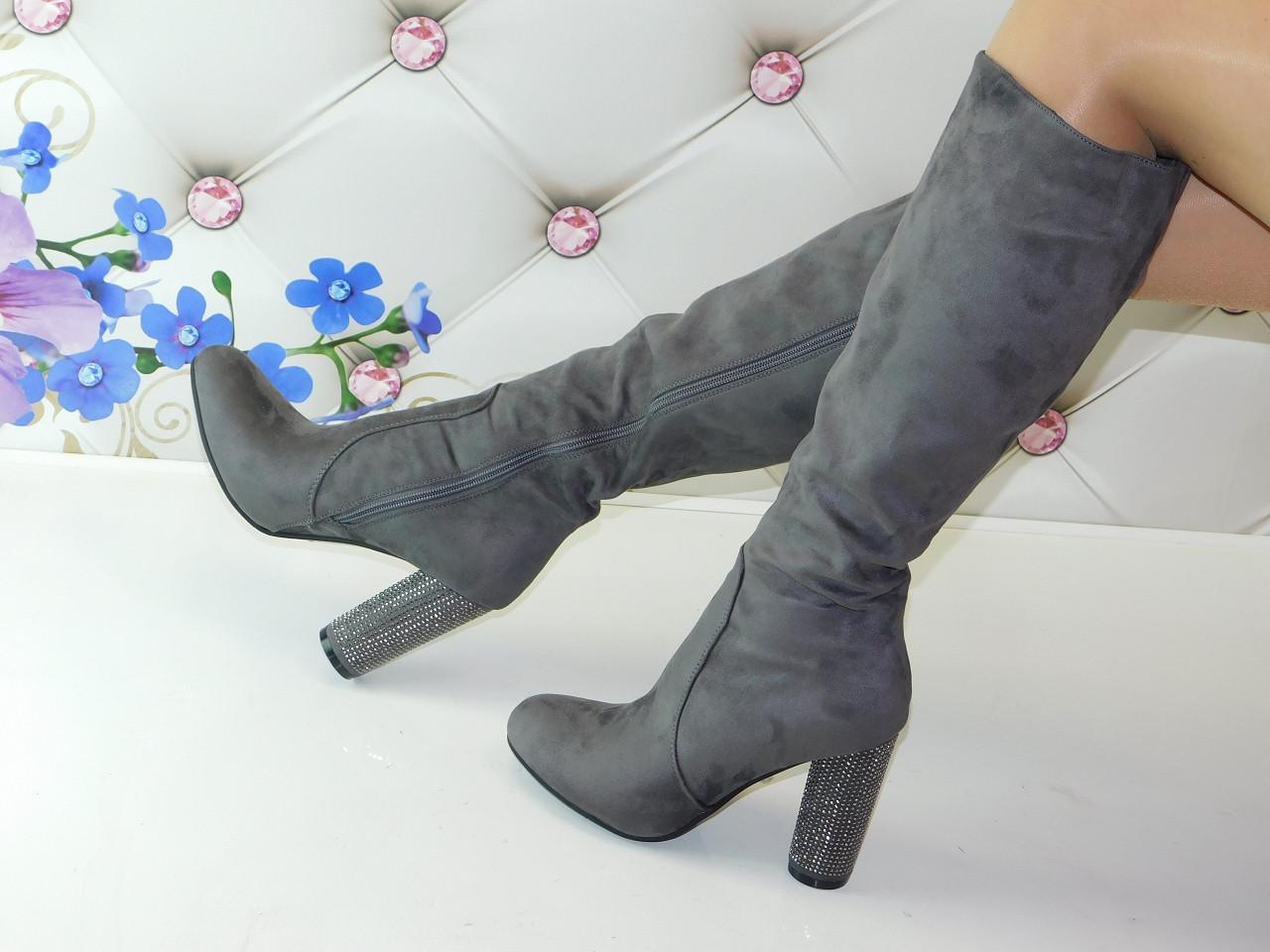 Сапоги женские осенние серые на толстом каблуке замшевые 36 размер -  магазин женской обуви Lady Vogue d9ba05ab4eabb