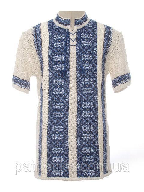 Вязаная вышиванка Карпаты синие с коротким рукавом | В'язана вишиванка Карпати сині з коротким рукавом