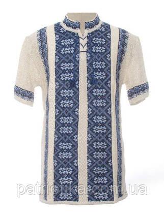 Вязаная вышиванка Карпаты синие с коротким рукавом   В'язана вишиванка Карпати сині з коротким рукавом, фото 2