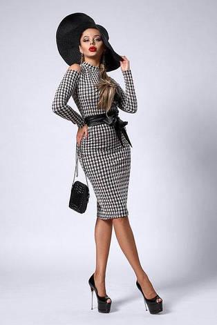 2606d55b5e6dc12 Элегантное приталенное платье миди из итальянского трикотажа с разрезами на  рукавах, фото 2