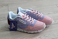Кроссовки Reebok Classic женские Leather фиолетовые с розовым