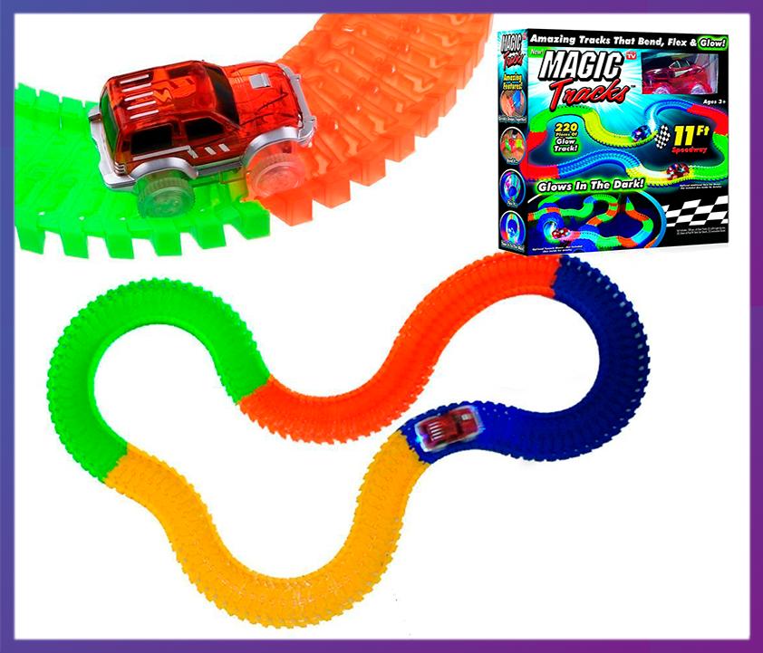 Дитячий конструктор, що світиться трек Magic Tracks/Меджик Трек 220 деталей