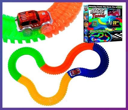 Дитячий конструктор, що світиться трек Magic Tracks/Меджик Трек 220 деталей, фото 2