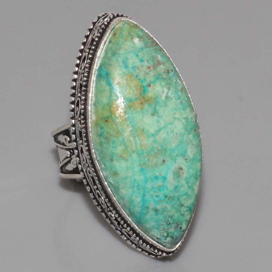 Красивое кольцо маркиз с камнем хризоколла в серебре кольцо с хризоколлой 19,0 размер