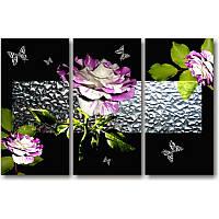 Модульная картина с цветами ФИОЛЕТОВАЯ РОЗА из 3 фрагментов