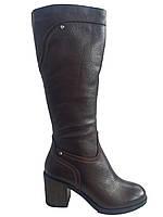 Кожаные женские зимние сапоги на каблуке Romax М5265 антрацит