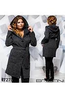 Женское демисезонное пальто из букле больших размеров ,три цвета,с поясом