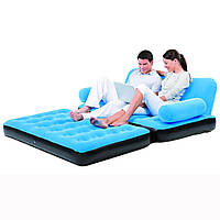 Надувной диван-трансформер 5 в 1 BestWay 67356 голубой раскладывается в кровать, с электронасосом 220В, сумка