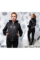 Женская осенняя куртка батал стеганная плащевка+иск.мех,с капюшоном,р 48,50