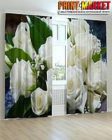 Фотошторы белые розы и листья