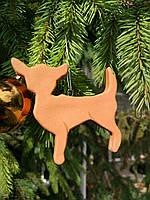Новогоднее украшение Собака керамическая, гирлянда на елку размер 9*8