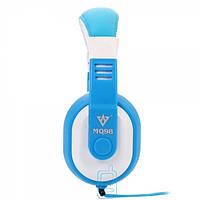 Наушники с микрофоном VYKON MQ98 бело-голубые
