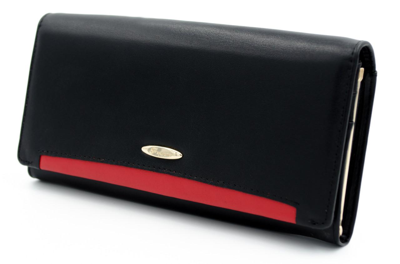 e376293ea42c Женский кожаный кошелек в черном цвете с красным полоской SALFEITE (Салфет)  (508030B)