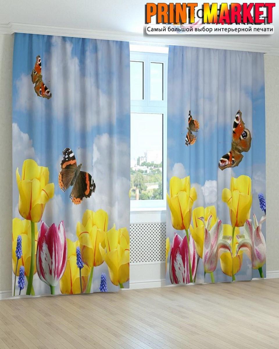 Фотошторы тюльпаны и бабочки