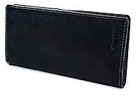 Элегантный кожаный мужской кошелек купюрник в черном цвета  HASSION (H-061)