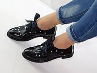 Туфли женские кожаные черные на низком ходу с заклепками