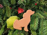 Новогоднее украшение Собака керамическая, гирлянда на елку размер 7*6