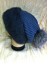 Меховая шапка из норки и трикотажной вязки цвет ирис