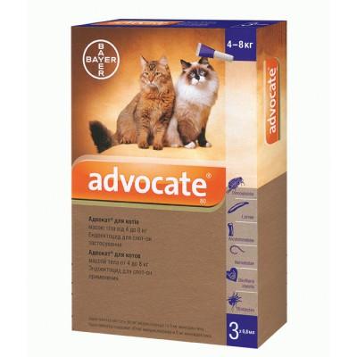 Капли ADVOCATE Адвокат комплексное средство от паразитов для кошек 4-8 кг, 1 пипетка