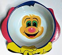 """Тарелка детская """"Весёлый клоун""""."""
