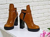 Ботильоны кожаные на высоком устойчивом каблуке